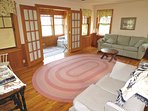 Family room walks out to sun room or enclosed porch.