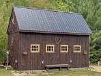 24 x 16 Carriage House Rustic Decor, Log Bar, Dining Table, Electric Fireplace and Wedding Supplies