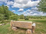Log Seating around Property with Outstanding White Mnt Views, Awesome Sunsets, 2 Perennial Gardens