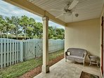 Back Porch with fenced yard, furniture and gas grill for cooking out