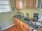 The granite-topped kitchenette is great for preparing meals.