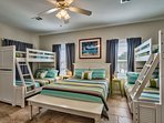 Large bedroom with double bunks (full on bottom, twin on top) plus a queen bed!  Great for families!
