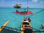 our guests enjoying the tandem sailing kayak ride in Long bay