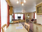 Dining area in this beautiful static caravan only 5 min walk form the beach.