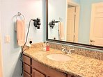 Master Sink with Granite Top  hairdryer and towels