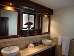 Your Master Bathroom with dual sinks - next to a large walk in closet.