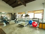 The gym and pool are steps away from the house. (Extra cost).