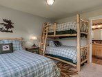 Guest Bedroom Full and Twin Log Bunk Beds First Level.