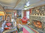 Curl up with a book next to the decorative stone fireplace.