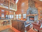 Cuddle close to the 22-foot high wood-burning fireplace to stay warm during the cold months.