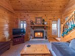 Cozy woodburning fireplace