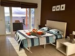 Main bedroom with open ocean view. This picture has been taken at 8.30 a.m.