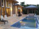 Pool and covered, heated jacuzzi
