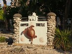 Copper Turtle sign - you won't miss us!