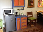The casita features a small fridge, microwave and coffee maker—(almost) all of the comforts of home!