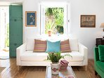 Living Room , white  three-seat sofa .