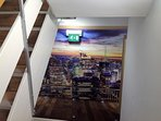 Pictures of New York in the stairway.