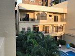 We are the top floor. Private balcony off Master BR. overlooking the pool