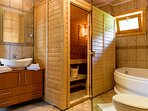 Sauna and jacuzzi ensuite bathroom.