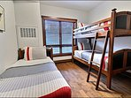 Third Bedroom has a Twin Bunk Bed and Twin Bed