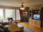 Sitting and gathering areas, gas fireplace, HD TV