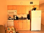 Full-size refrigerator and extra storage space, the kitchen is fully equipped with everything you need, Cook a full...