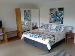 very comfortable king size bed in spring colours