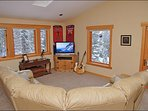 Upper Living Room with HDTV, Skylights, LEather Sofa