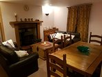 Living/dining room with woodburner