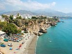 taken from the Balcon de Europa this view shows another beach - just 5 minutes walk from villa