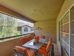 Dine al fresco on the private covered patio.