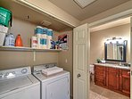 The full-size laundry machines ensure a comfortable stay.