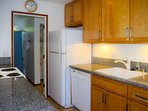 The galley kitchen provides all you'll need to prepare and serve meals. There's a dishwasher too!