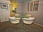 Comfortable Dining Area - lazy susan and 2 extra chairs available for 6 people total