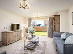 The large, stylish living room, which also leads out directly into the garden