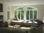 Arched Window in Family Room with view of the Lake