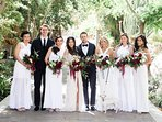 Wedding Party Standing on the Street of Spain