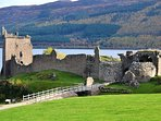 Beautiful Urquhart Castle on Loch Ness, 40 minutes drive.