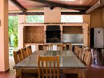 large dining table and BBQ