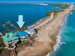 ocean to river, with 200 yards of private, secluded, swimmable ocean beach.  + Private Dock!