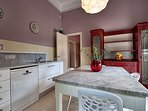 The modern kitchen has some pieces of furniture original from the Villa