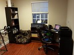 Full Office. Two work desk, Laptop, copier/scanner/printer, shredder, and office supplies.