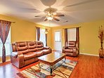 The home features high-end furnishings and gorgeous hardwood floors.