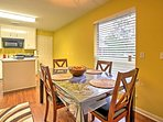 Enjoy home-cooked meals at the lovely dining table or up at the kitchen bar with 2 bar stools.