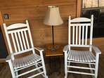 Rocking chairs facing due East