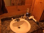 Bathroom Sink and Hairdryer
