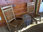 Rocking chairs great for coffee and wine!