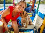 Debbie and Bacardi enjoying the boat ride for the Mangrove tour