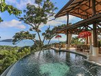 Tropical pacific ocean views with an infinity pool as an addition