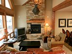 Large living area with vaulted ceilings